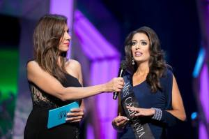 Miss California Marina Inserra answering her on stage question during preliminary competition at Miss America.