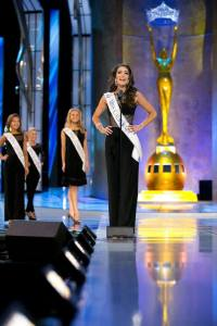 Miss California Marina Inserra announcing herself during a preliminary night at Miss America.
