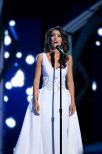 Miss California Marina Inserra performing her talent during preliminary competition at Miss America.