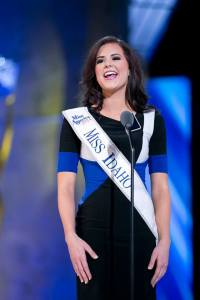 Miss Idaho Sierra Sandison announcing herself during a preliminary night at Miss America.