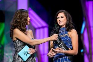 Miss Idaho Sierra Sandison answering her on stage question during preliminary competition at Miss America.