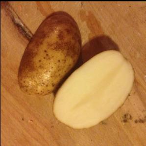 Cut your potatoes into halves.