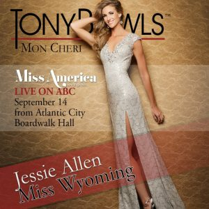 Miss Wyoming Jessie Allen in her official Tony Bowls Mon Cheri Gown Photoshoot.