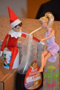 Your elf and barbie sharing a drink for breakfast!