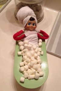 Elf needs a bath...in marshmallows of course!