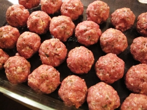 Pre-made Meatballs! I keep these made and in the freezer because I am the game wardens wife and eat a lot by myself so I can grab some of these with pasta and have a meal for one. It is amazing!