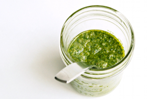 Pesto! Homemade or Store bought you can freeze it. I don't use a TON of pesto so I usually freeze in ice trays or muffin tins, then I put in my baggies and use when needed.