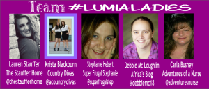 This is Stephanie Hebert's team for the #lumiswitch campaign! We are the #lumialadies and we are coming for you week 2!!! I hope to see one of all my team members in the Challenge 4, Challenge 5, and Challenge 6 spots!! Let's go!! #lumialauren #lumialadies